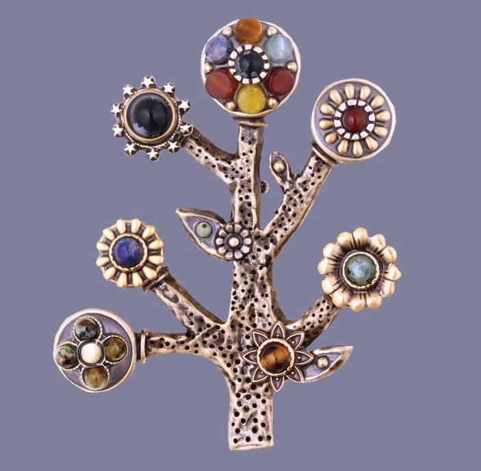 Symbolic Tree of Life pin. 24K gold, turquoise, jasper, sodalite, carnelian, lapis, agate, tiger's eye, jade