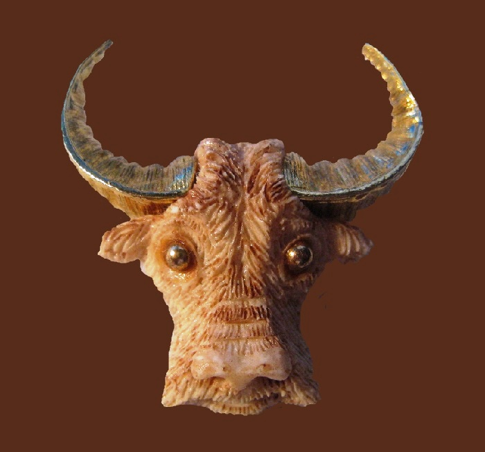 Taurus The Bull brooch from the series of Zodiac signs. Figural Brooch made of jewelry alloy and resin