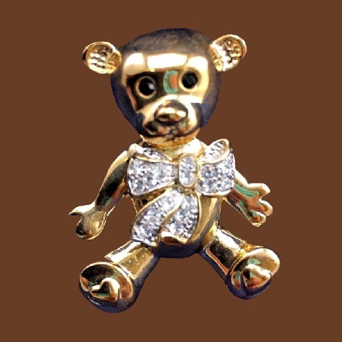 Teddy bear gold tone brooch