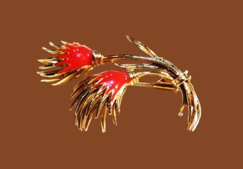 Thistle red enameled brooch of gold tone metal