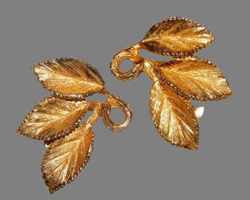 Three leaf earrings. Jewelry alloy, enamel