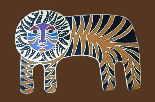 'Tigre' signed enameled brooch