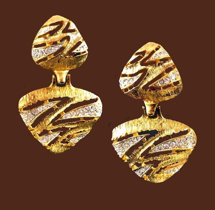 Triangle dangle clip on earrings. Gold tone jewelry alloy, enamel, rhinestones