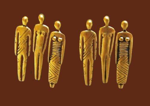 Tribal family gold tone earrings