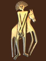 Tribal man with horse pin brooch of gold tone