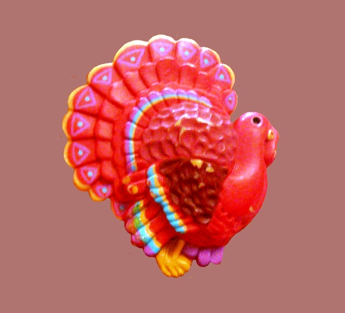 Turkey Thanksgiving Day brooch pin. Plastic, enamel painted. 4.5 cm. 1985