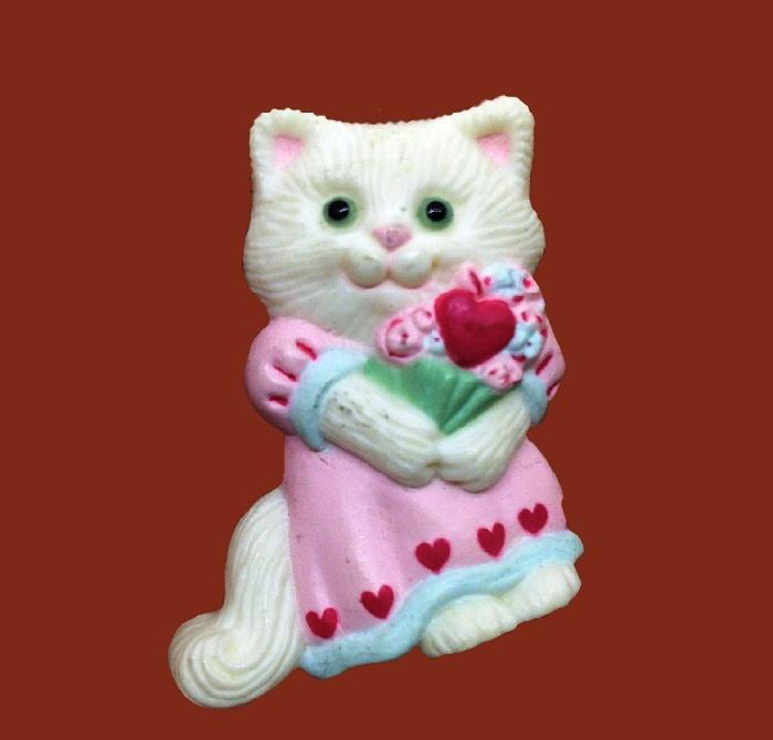 White Kitty St.Valentines brooch