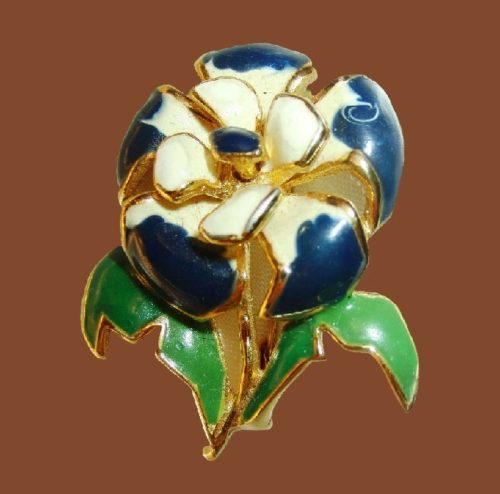 White and purple enamel gold tone flower brooch