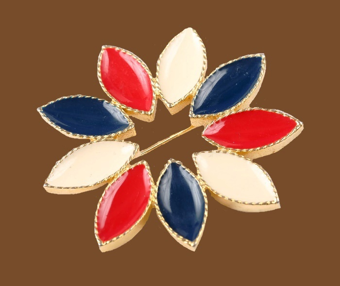 White, blue and red enameled flower brooch