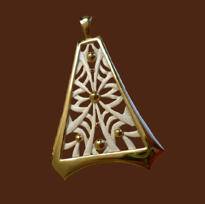 White enamel gold tone metal pendant. 5 cm