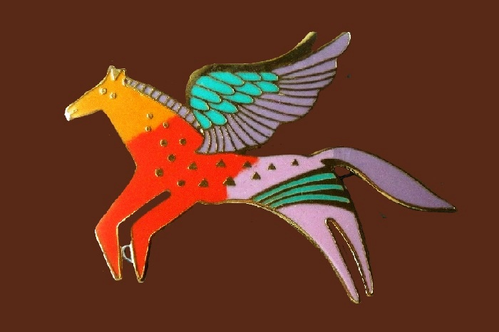 Winged Horse enameled pin brooch