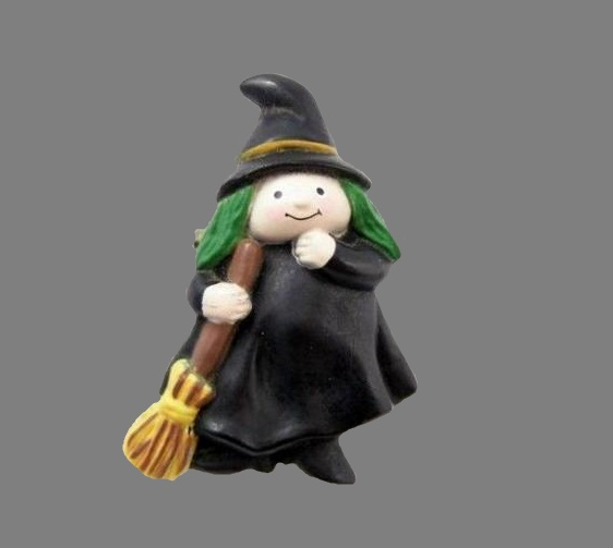 Witch with a broom Halloween brooch, 1980s
