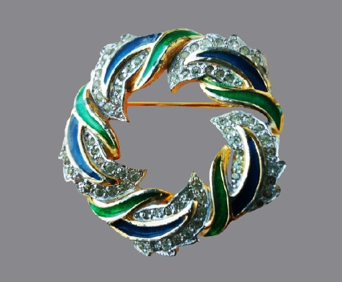 Wreath brooch. Jewelry alloy, enamel