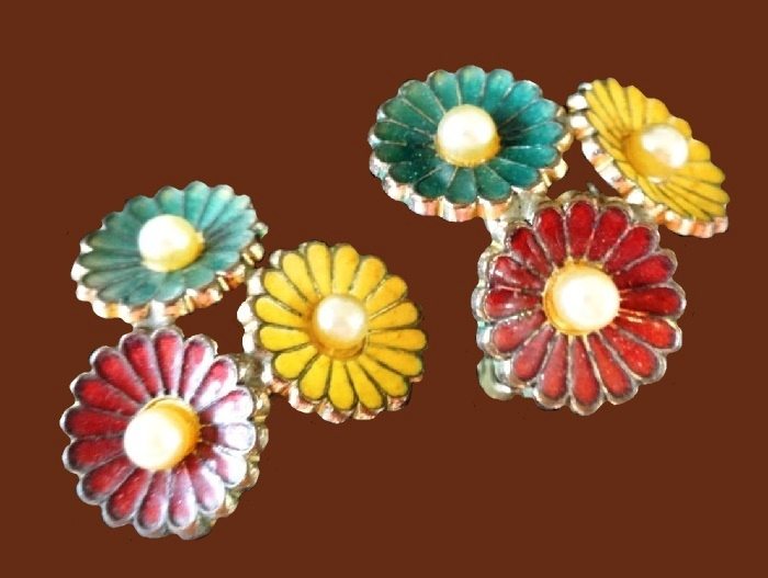Yellow, green and pink enamel three-daisy flower earrings