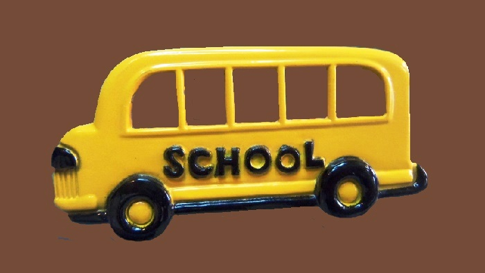 Yellow school bus enameled brooch