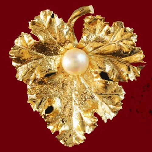 14K yellow gold and cultured pearl leaf pin