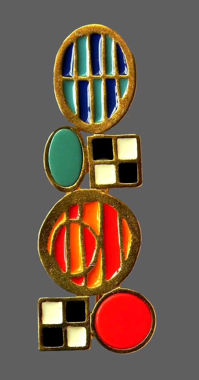 Abstract brooch, vintage 1980s. Jewelry alloy, gold plated, enamels, plastic. 7.5 cm