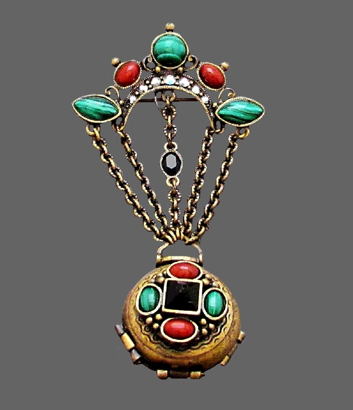 Air balloon look brooch pendant. Jewelry alloy, enamel, cabochons, rhinestones