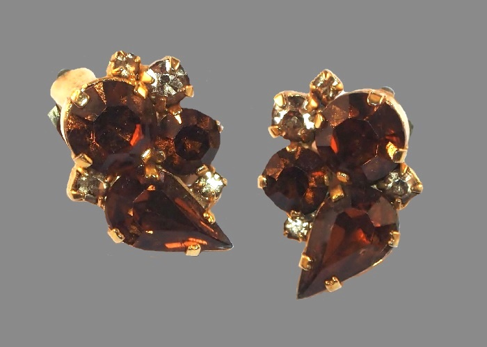 Amber color rhinestones clip on earrings