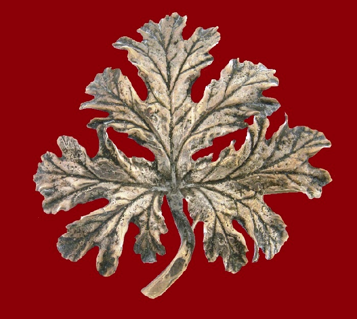 Anatomically accurate leaf brooch, 6.7 cm, sterling silver, 1950s