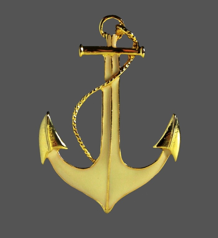 Anchor gold tone enameled brooch