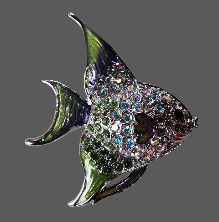 Angel fish vintage marked brooch. 5 cm. Jewelry alloy, aurora borealis, Swarovski crystals, enamel