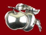 Apple brooch of sterling silver, 1950s