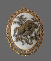 Aries zodiac sign cameo pendant of gold tone