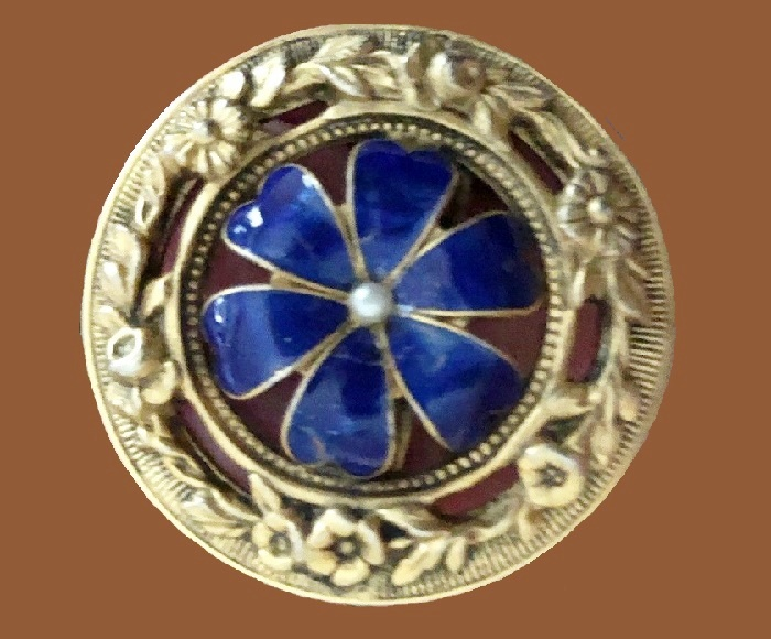 Art Deco Blue Enamel Floral Flower Pin