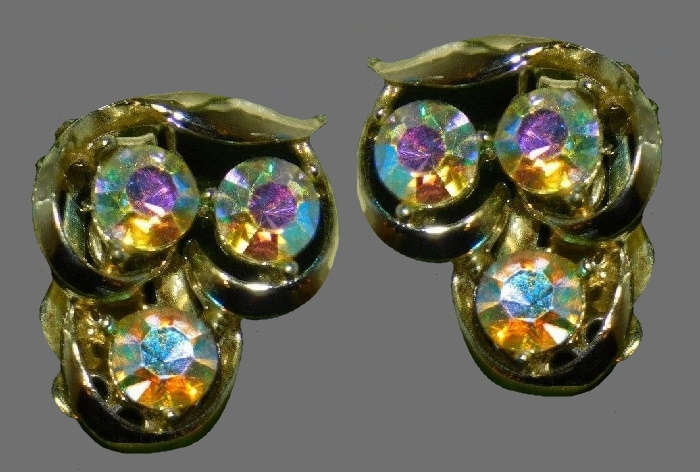 Aurora borealis rhinestone clip on earrings, gold tone