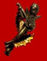 Beautiful Angel playing the musical instrument gold tone enameled brooch