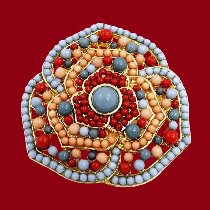 Beige, blue and red beads flower brooch