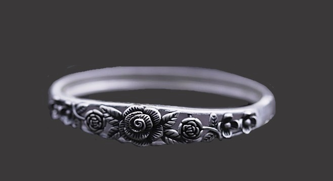 Blackened silver rose bracelet
