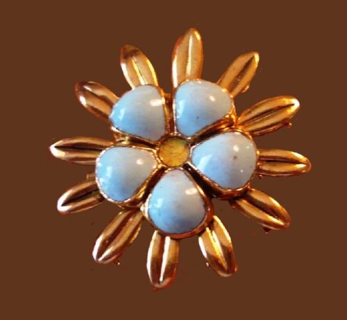 Blue flower brooch, gold tone
