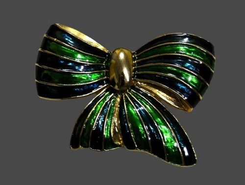 Bow brooch. Jewelry alloy, green and blue enamel