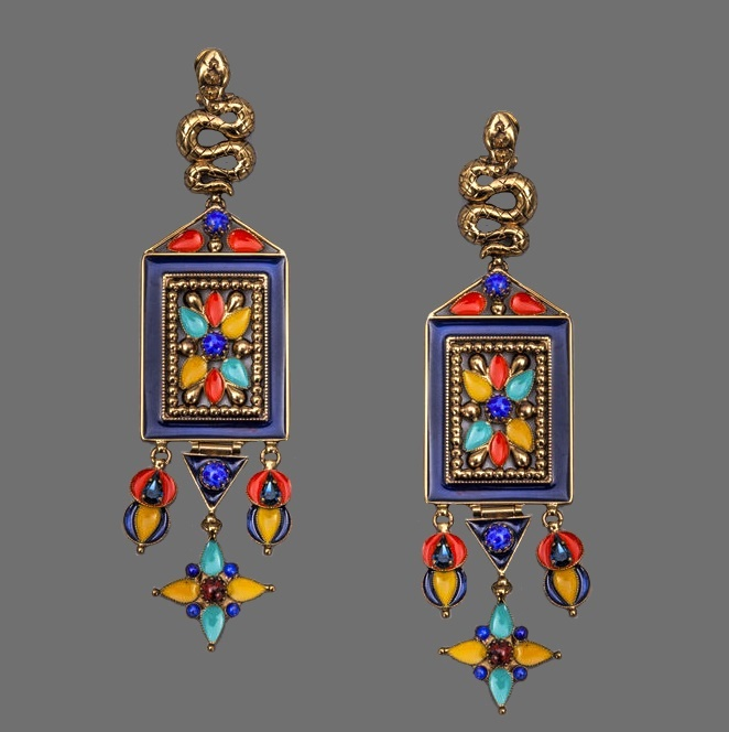 Bright and spectacular ethnic enameled earrings with snakes and butterflies