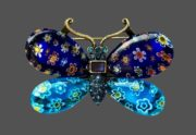 Butterfly brooch from the series of insect brooches. Flower patterns, art glass, lucite hand painted