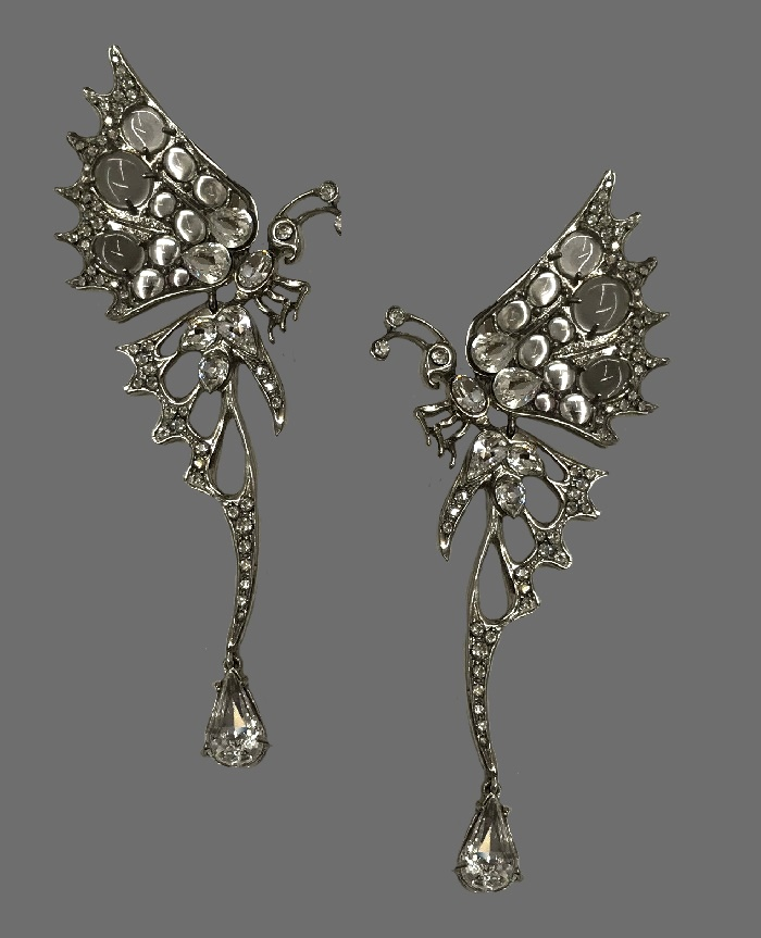 Butterfly earrings. Silver tone metal, rhinestones, crystals and moonstone