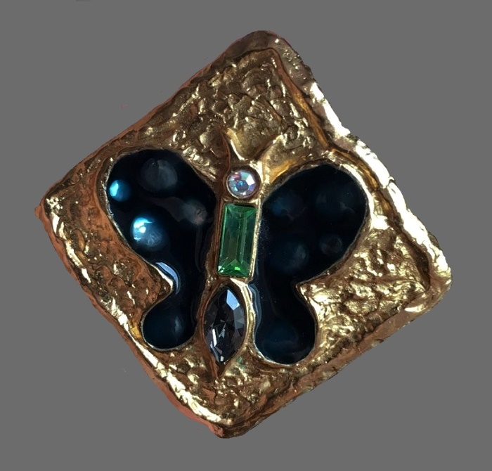 Butterfly square shaped brooch. Jewelry alloy, gold plated, crystals, enamel