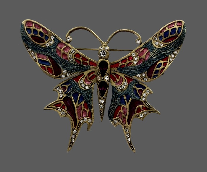 Butterfly stunningly beautiful brooch. Gold tone jewelry alloy, rhinestones, enamel, crystals