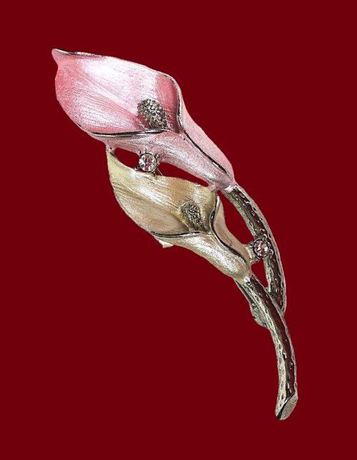 Calla Lily brooch. Enamel, rthinestones