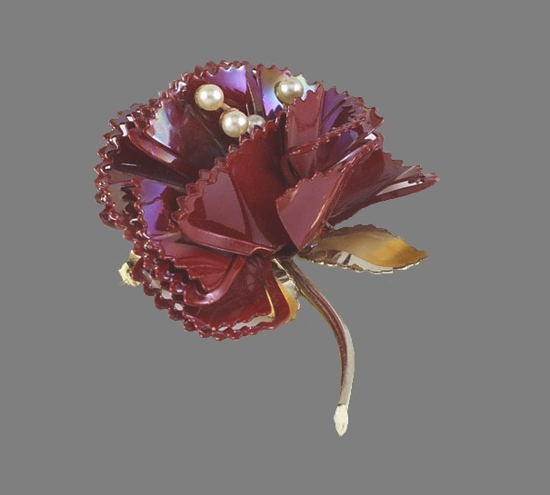 Carnation brooch. Jewelry alloy, red enamel, faux pearls. 6 cm. 1960s