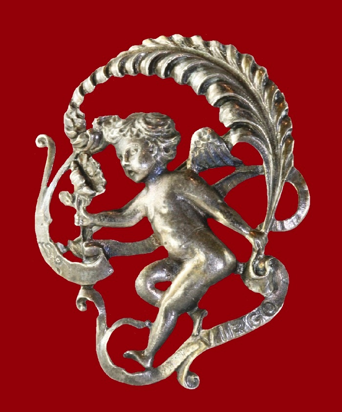 Cherub Virgo sign brooch