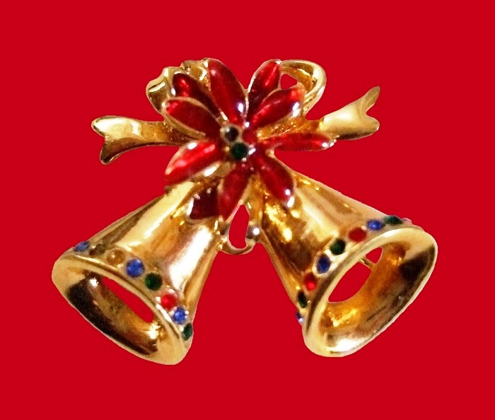 Christmas bells pin. Gold tone jewelry alloy, enamel, rhinestones