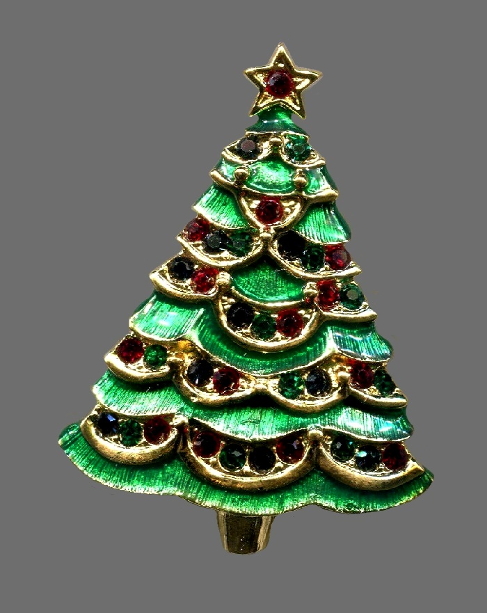 Christmas tree enameled brooch