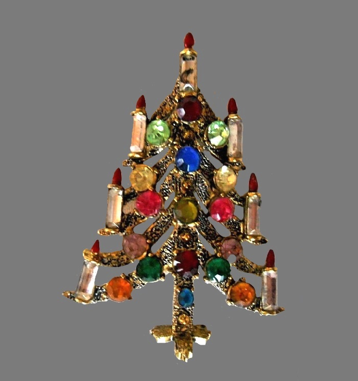 Christmas tree gold tone brooch, rhinestones, glass cabochons, rhinestones
