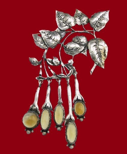 Citrine Fuchsia sterling silver brooch