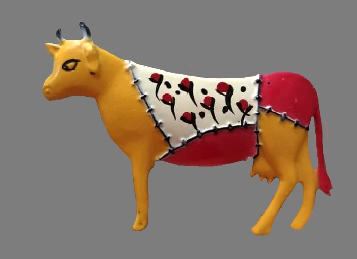 Cow vintage brooch handpainted in patchwork style. 1960s. Jewelry alloy, enamel, 7 cm