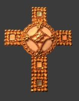 Cross pin. Gold plated jewelry alloy, enamel. 1990s