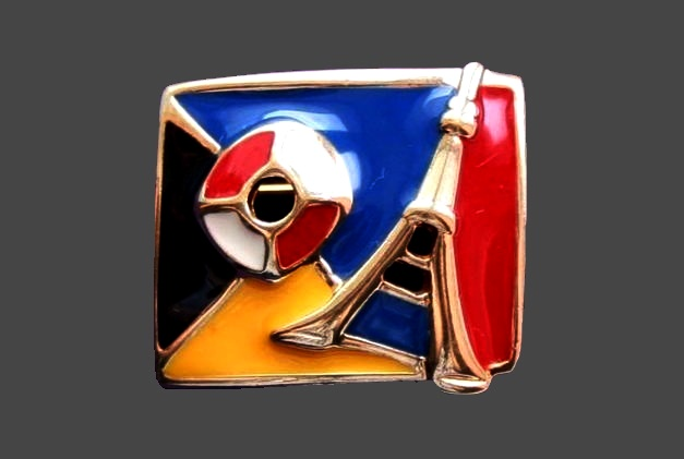 Cruise collection enameled brooch